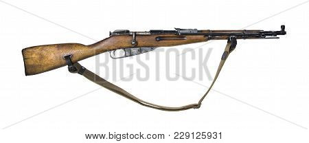 Vintage Military Rifle With Bayonet In Its Closed Position, Isolated