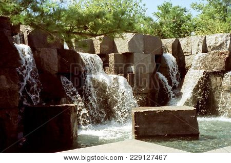 View Of Franklin Roosevelt Memorial In Washington Dc, Usa, April 5, 1999