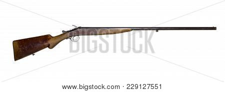Vintage Hunting Single-barreled Shotgun, Isolated On White Background