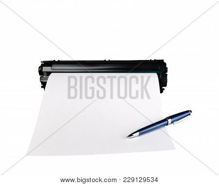 Pen On Sheet Of Paper And Cartridge, Isolated On White Background.