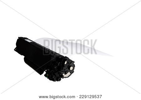 Sheet Of Paper In The Cartridge, Isolated On White Background.