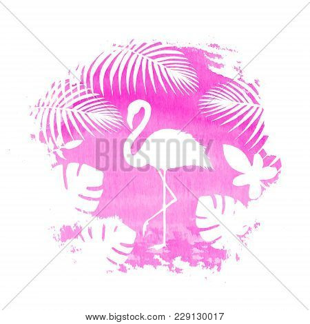 Silhouette Of Flamingo And Tropical Exotic Plants On Pink Watercolor Hand Drawn Spot. Tropical Exoti