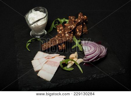 Ukrainian National Food Is Lard Salo With Bread With Purple Onions On The Black Background, Snack Fo