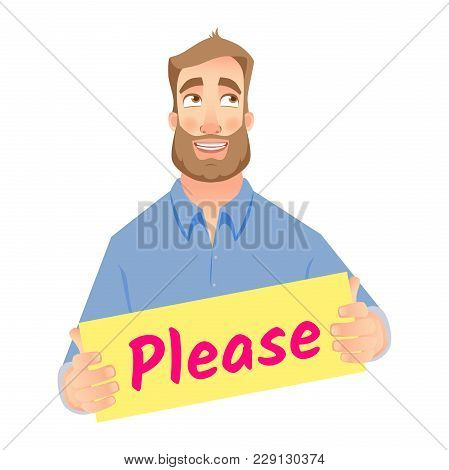 Businessman Holding Please Sign, Business Communication Icon