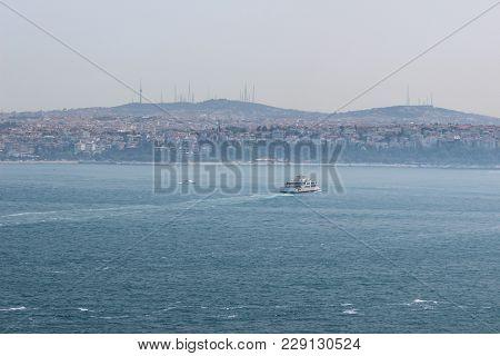 Panorama Istanbul And Bosporus. Panoramic View Of Istanbul. Europe Meets Asia In Istanbul. Horizonta