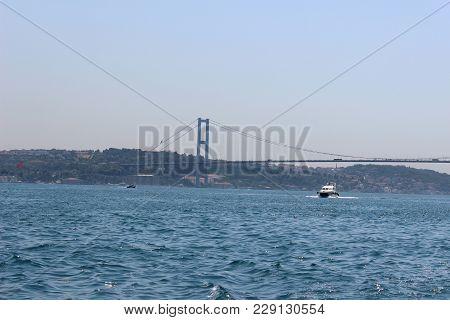 Panorama Istanbul And Bosporus. Panoramic View Of Istanbul. Europe Meets Asia In Istanbul. Horizanta