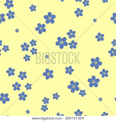 Floral seamless pattern with forget-me-nots on a yellow background. Vector.