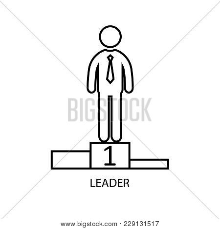 Leader Man Standing On The Winner's Podium Isolated On A White Background. Vector Illustration