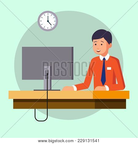 A Businessman In An Office Room, Working Sitting At A Desk. A Clerk Worker At Workplace Works On A C