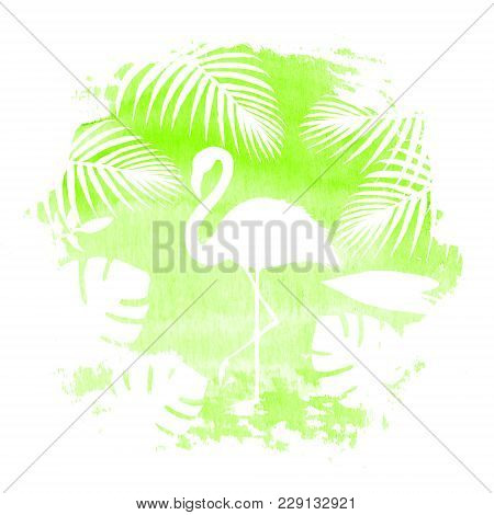 Silhouette Of Flamingo And Tropical Exotic Plants On Green Watercolor Hand Drawn Spot. Tropical Exot