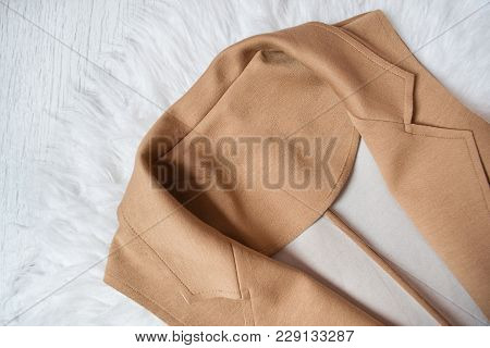 Collar Of A Brown Jacket With White Fur. Close-up. Fashionable Concept