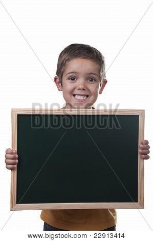 Boy Holding A Blackboard