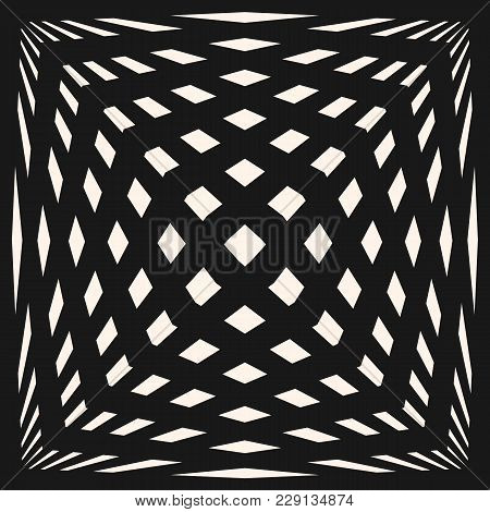 Vector Geometric Checkered Pattern. Black & White Seamless Texture With Crossing Lines, Stripes, Str