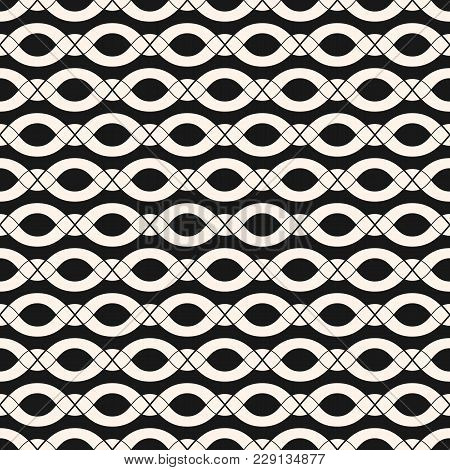Vector Chains Pattern. Abstract Geometric Seamless Texture With Smooth Wavy Shapes, Ovals, Ropes, Ho