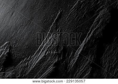 Relief Texture Of Black Shale Plate Macro Natural  Background