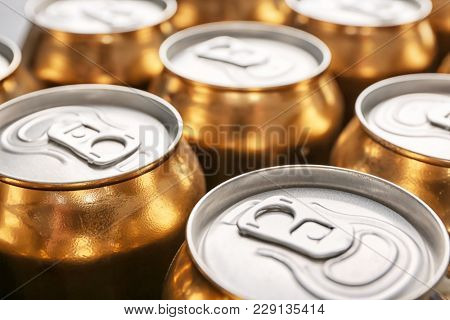 Cans of fresh beer, closeup