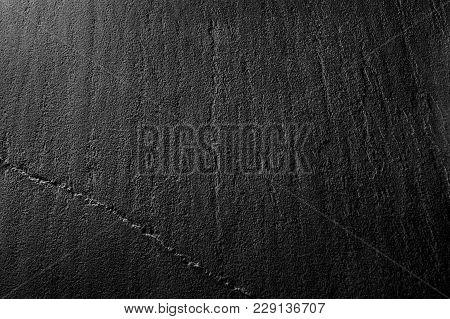 Black Shale Stone Plate Texture Macro Background