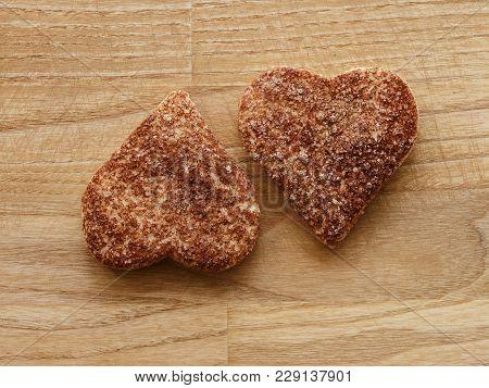 Cinnamon Hearts Cookies Wood Texture