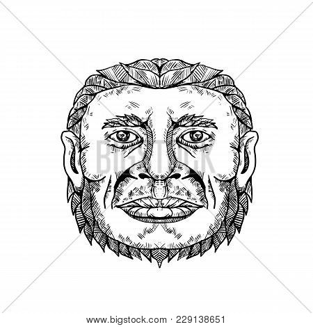 Doodle art illustration of head of male Neanderthal ,Neandertal or Homo neanderthalensis, an archaic human that became extinct front view in black and white done in mandala style. poster
