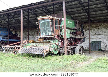 Russia, Poltavskaya Village - September 6 2015: Rice Header Rice Harvester. Agricultural Machinery