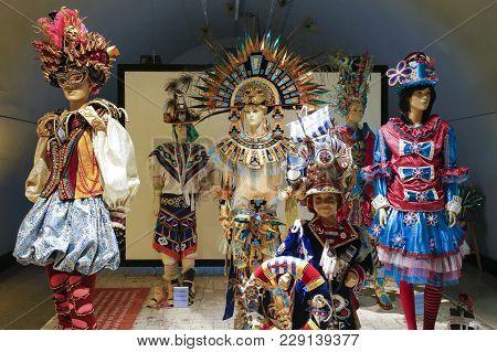 Badajoz, Spain - March 1st, 2018: Badajoz Carnival Museum, National Tourist Interest Festivity
