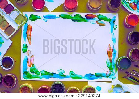 Decorative Composition Surrealism Frame Materials For Creativity And Design. Bright Colors Saturated