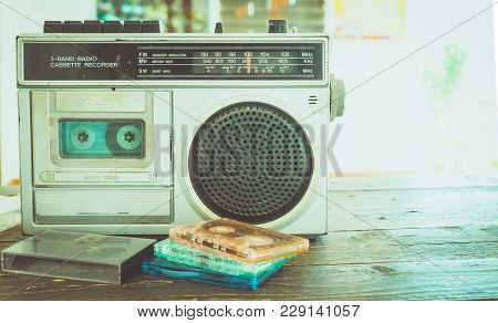 Retro Lifestyle - Tape Cassette With Cassette Player And Recorder For Listen Music - Vintage Color T