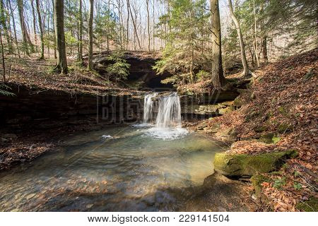 A Waterfall In Mammoth Cave National Park.