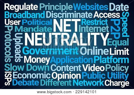 Net Neutrality Word Cloud on Blue Background