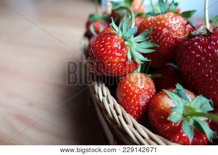 A Ripe Strawberries  In The Basket, Red Fruit, Plant In Countryside Farm, Feel Fresh And Sweet, Frui