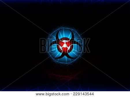 Abstract Biohazard Symbol With Blue Light Effect Background. Illustration Vector Background