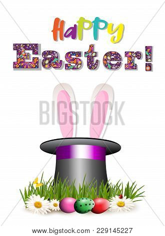 Happy Easter Greeting Card With Colorful Lettering, Cartoon Pink Bunny Or Rabbit Ears Sticking Out O