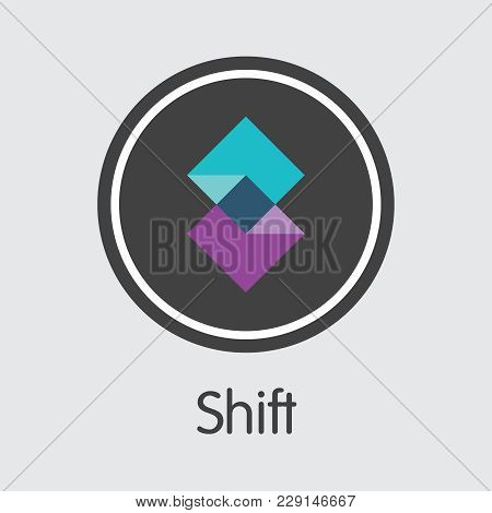 Shift - Blockchain Cryptocurrency Trading Sign. Vector Element Of Cryptocurrency Icon On Grey Backgr