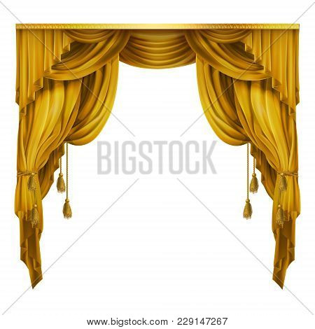 Vector Silk, Velvet Theatrical Curtain With Folds, Drape. Decoration Element For Performance, Premie