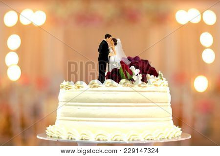 Wedding Cake Bride And Groom Topper With Bokeh Background