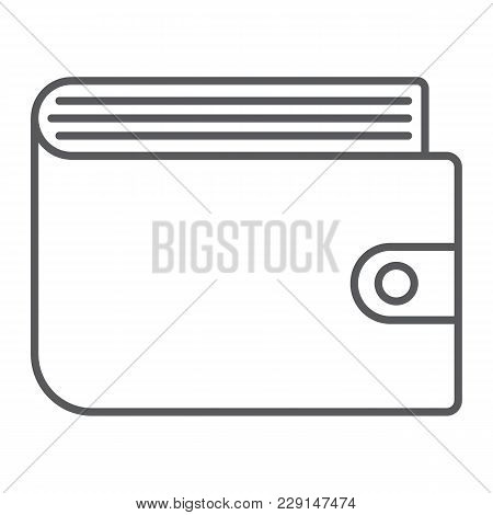 Wallet Thin Line Icon, E Commerce And Marketing, Purse Sign Vector Graphics, A Linear Pattern On A W