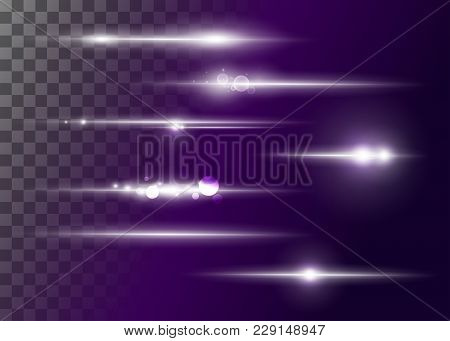Set of Vector Glowing Neon Light Effects. Abstract White Line with Radiance and Bokeh Effect. UI Design Element. Transparent Lens Flare. Futuristic Vibrant Glow for Game Design, Banner, Frame, Button. poster