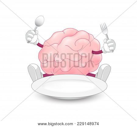 Brain Character Holding Spoon And Fork With Empty Plate. Food For Thought Concept. Illustration Isol