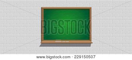 Green Backboard On Soft Gray Brick Wall, Illustration