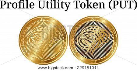 Set Of Physical Golden Coin Profile Utility Token (put), Digital Cryptocurrency. Profile Utility Tok