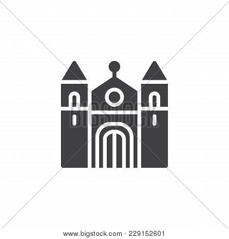 Cathedral Building Vector Icon. Filled Flat Sign For Mobile Concept And Web Design. Christian Church
