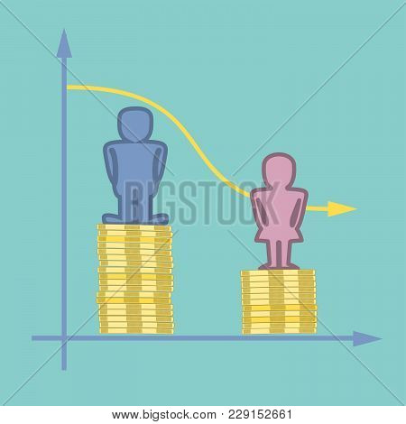 Male And Female Symbols Standing On Top Of Piles Of Coins With Line Graph - Wage Gap Concept Illustr