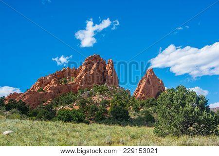 Picturesque Public Park In Colorado Springs, Colorado.