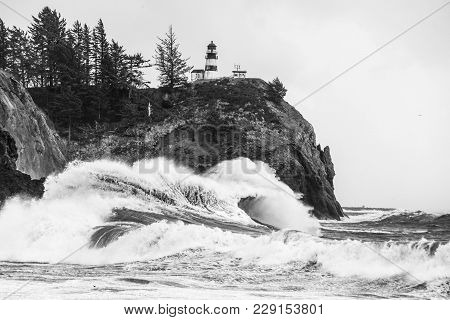 Unique Waver Structure At Cape Disappointment State Park In Inwaco, Washington