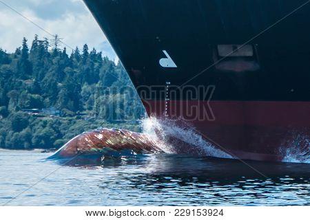 Container Ship Underway On Puget Sound, Washington.