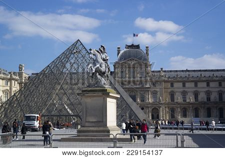 Paris, France - March 22, 2016: View Of Louvre Building In Louvre Museum. Louvre Museum Is One Of Th