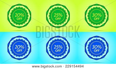Collection Of Green And Blue Sale Badges. Vector Badge With Offer Of Discount 20 25 30 Percent Off,