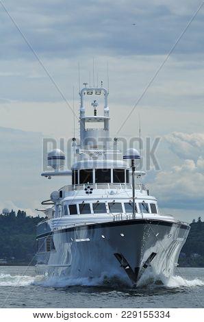 Motor Yacht, Ice Bear, Underway On Puget Sound, Washington