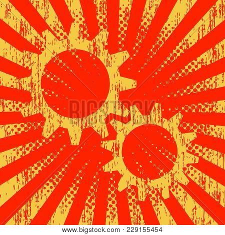 1st May Labor Day. Retro, Vintage Background. Gears Red Color