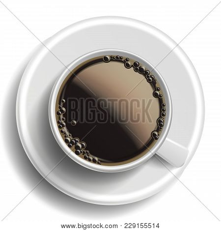 Coffee Cup Vector. Top View. Hot Americano Coffee. Espresso Fast Food Cup Beverage. Bubbles. White M